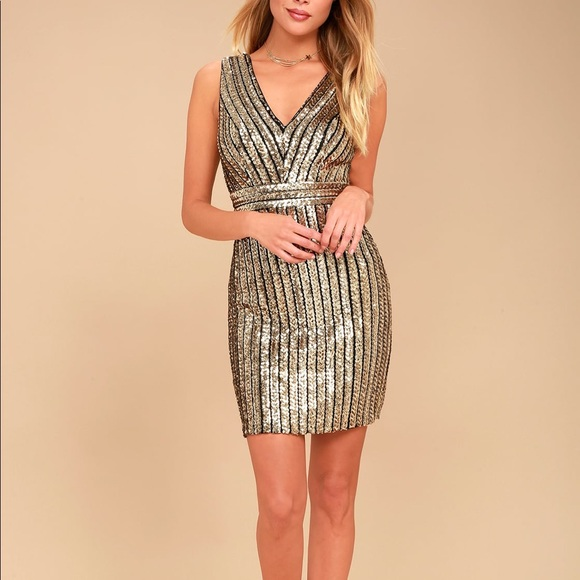 c2d1943c36 Gold Sequin Backless Bodycon Dress NWT